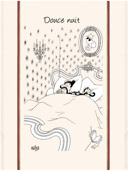 Douce Nuit (Sweet Night) Dubout Cats Tea Towel