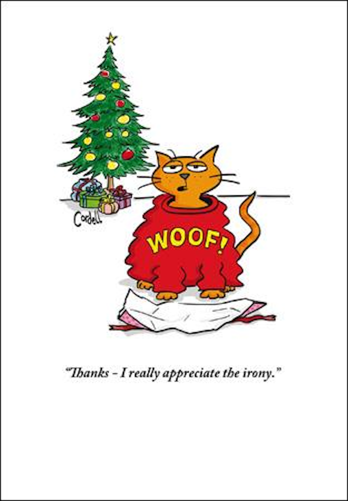 Appreciate the Irony Cat Christmas Greeting Card