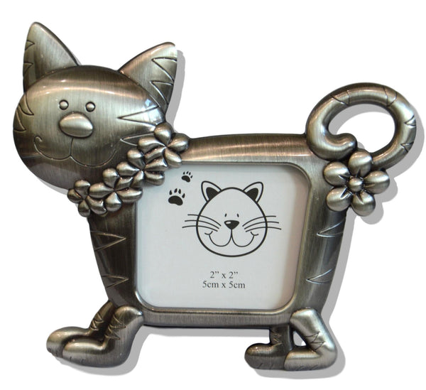Small Brushed Silver Cat Picture Frame