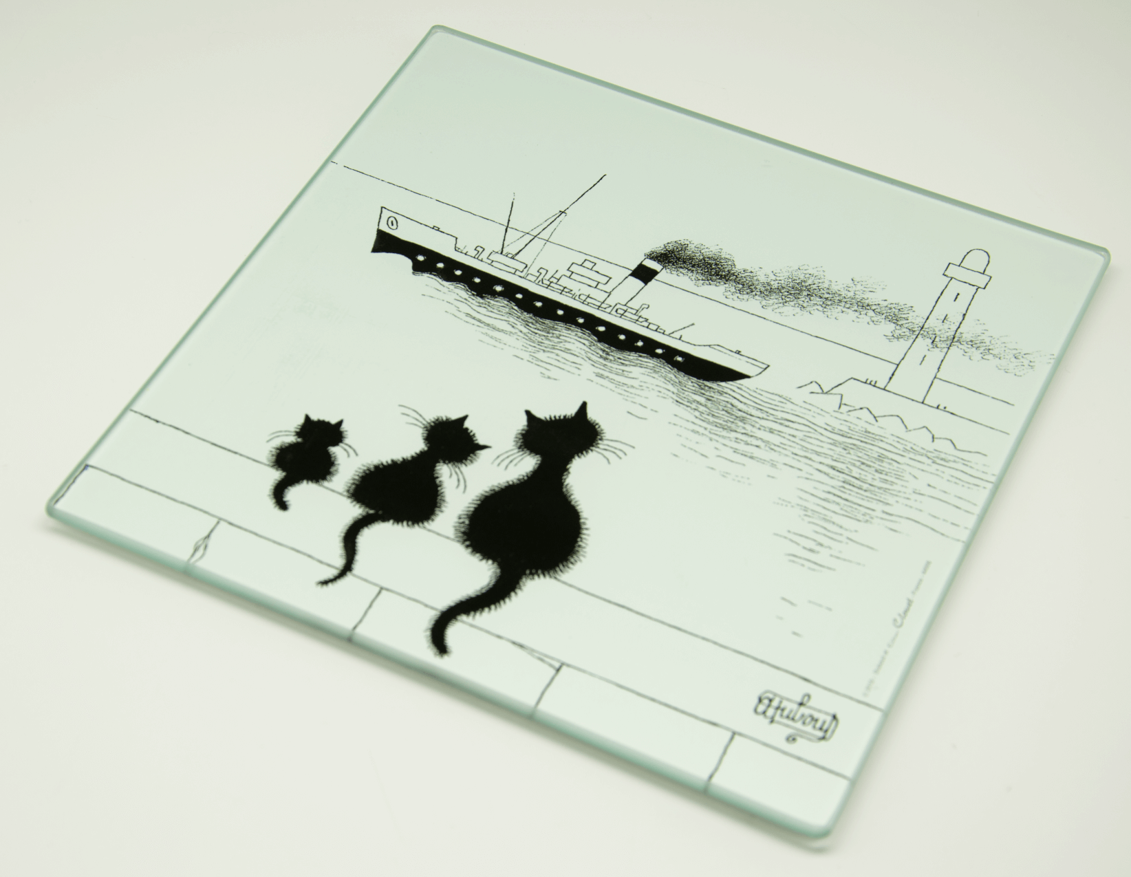 Dubout Cats - 3 Cats on the Wall Glass Trivet (3 Chats Sur Le Mur)