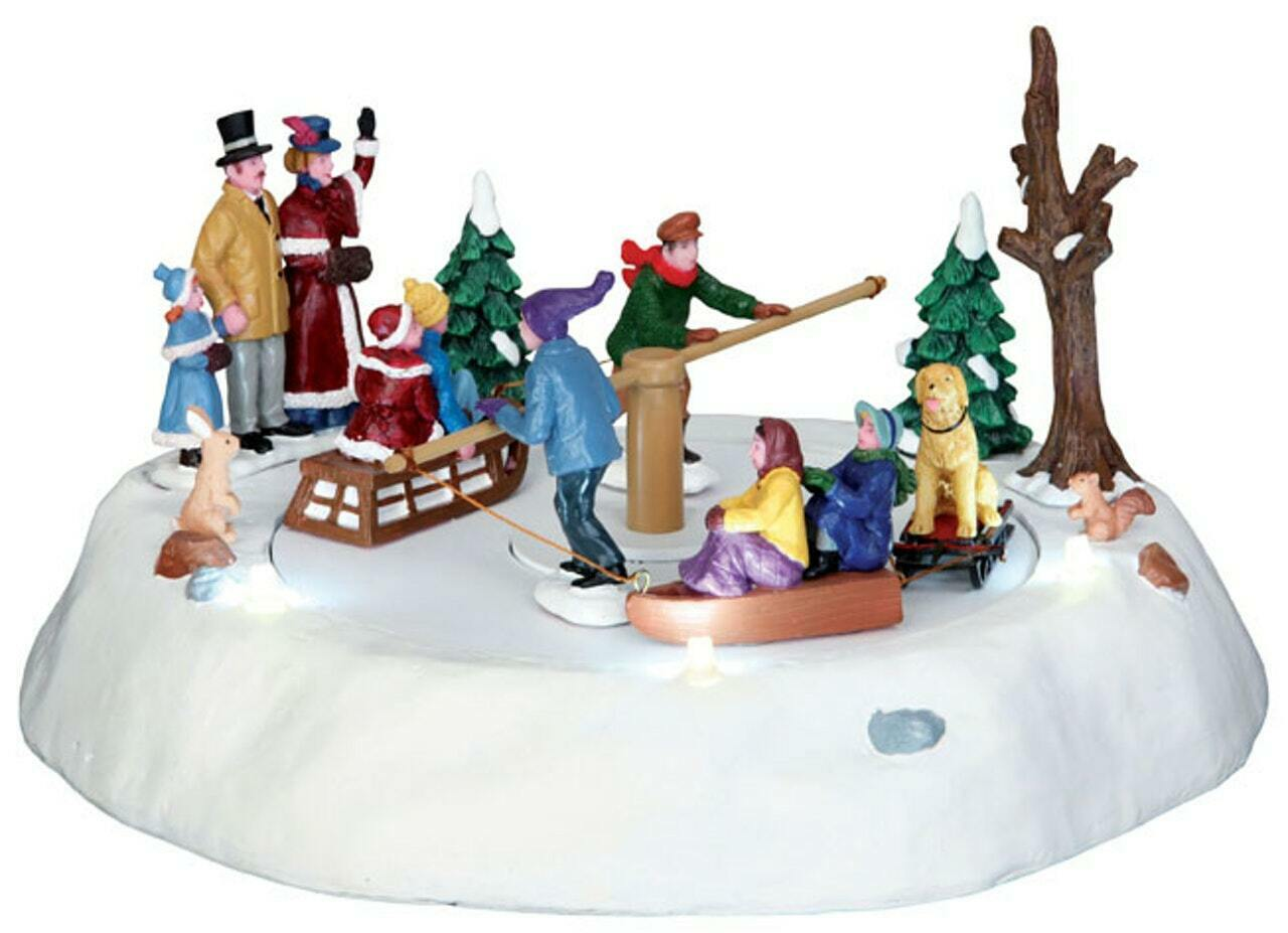 Lemax Christmas Village Victorian Ice Merry Go Round Moving Table Accent #44773