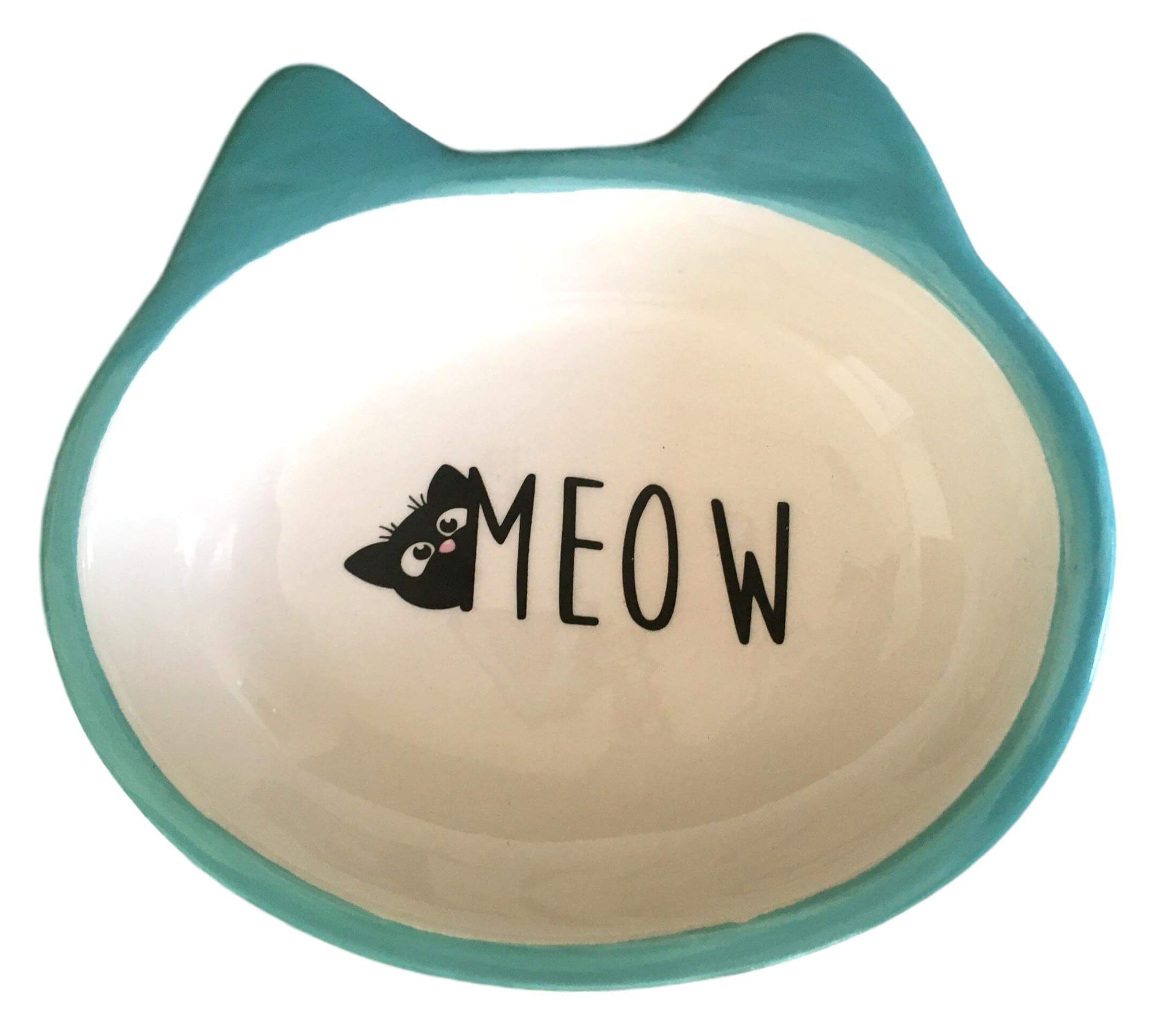Ceramic Meow Pink or Blue Cat Bowl
