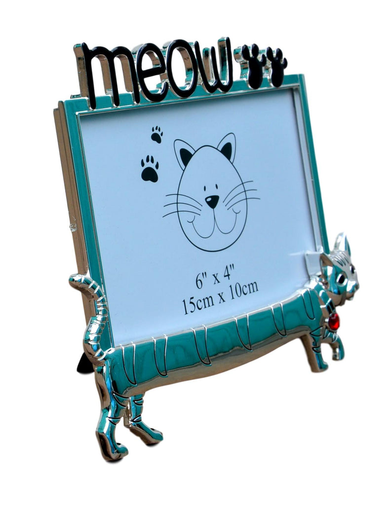 """MEOW"" Polished Silver Cat Picture Frame"