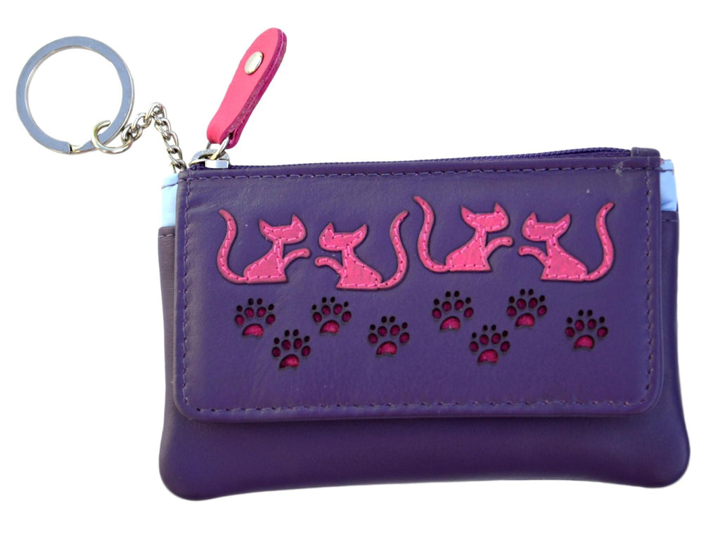 Mala Leather Small Purple Poppy Cat Coin Purse