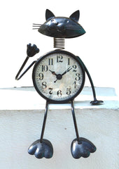 Cute Sitting Metal Cat Clock