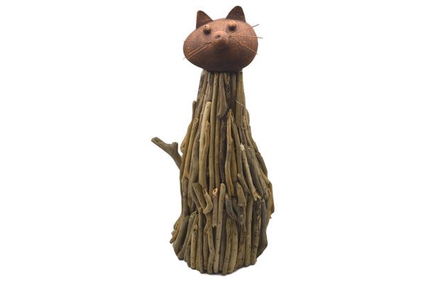 Large Driftwood & Metal Cat