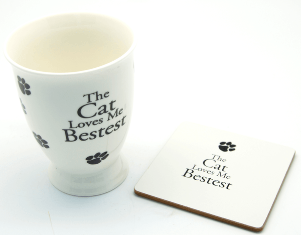 The Cat Loves Me Bestest Sentiment Mug & Coaster Set