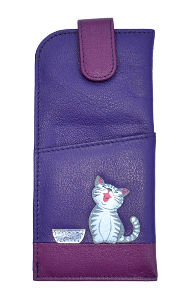 Mala Leather Ziggy Cat Purple Glasses Case
