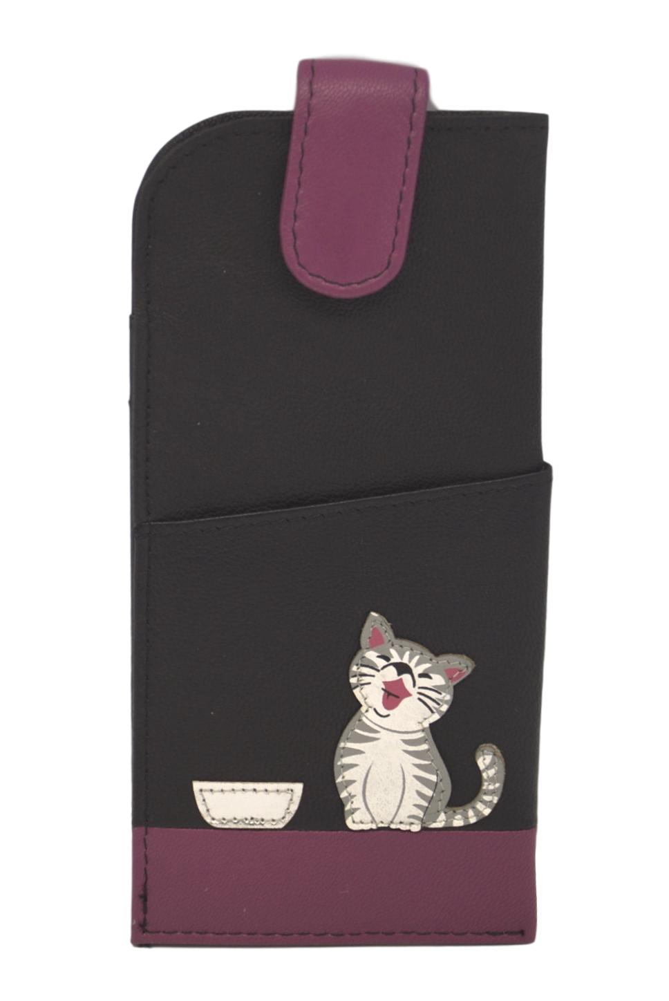Mala Leather Ziggy Cat Black Glasses Case