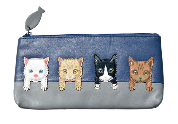 Mala Leather Cats on Wall Navy Blue Glasses Case / Pencil Case / Purse