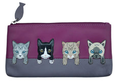 Mala Leather Cats on Wall Pink Glasses Case / Pencil Case / Purse