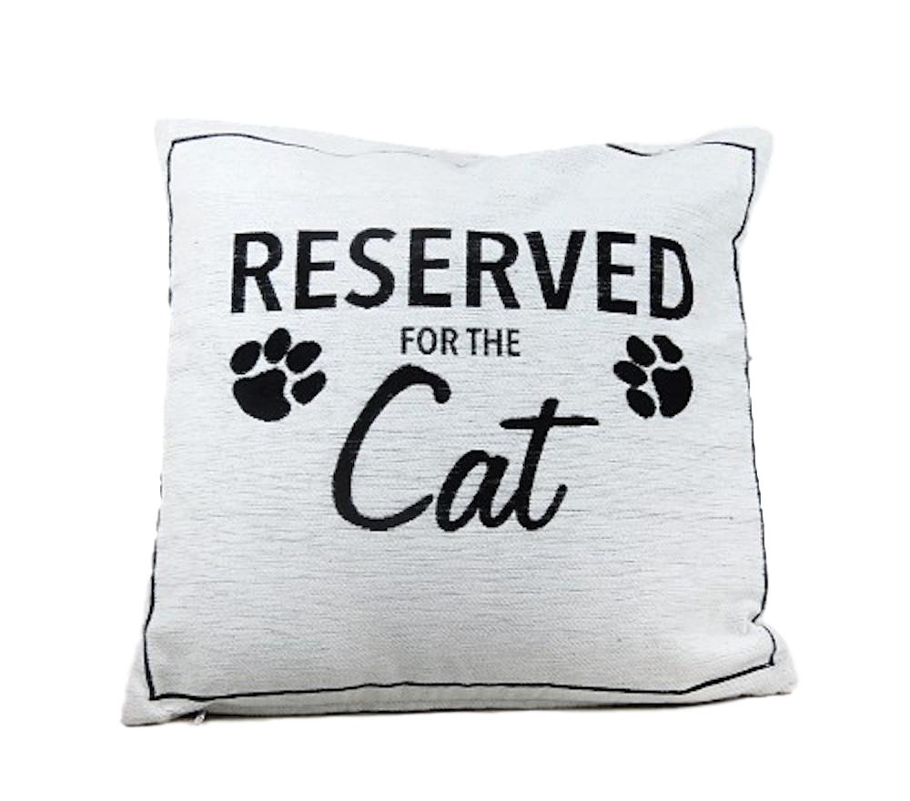Reserved for the Cat Black & White Cushion