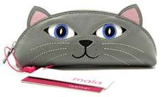 Mala Leather Lola the Cat Grey Glasses Case / Pencil Case / Purse