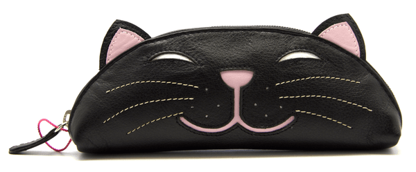 Mala Leather Rosie the Cat Black Glasses Case / Pencil Case / Purse
