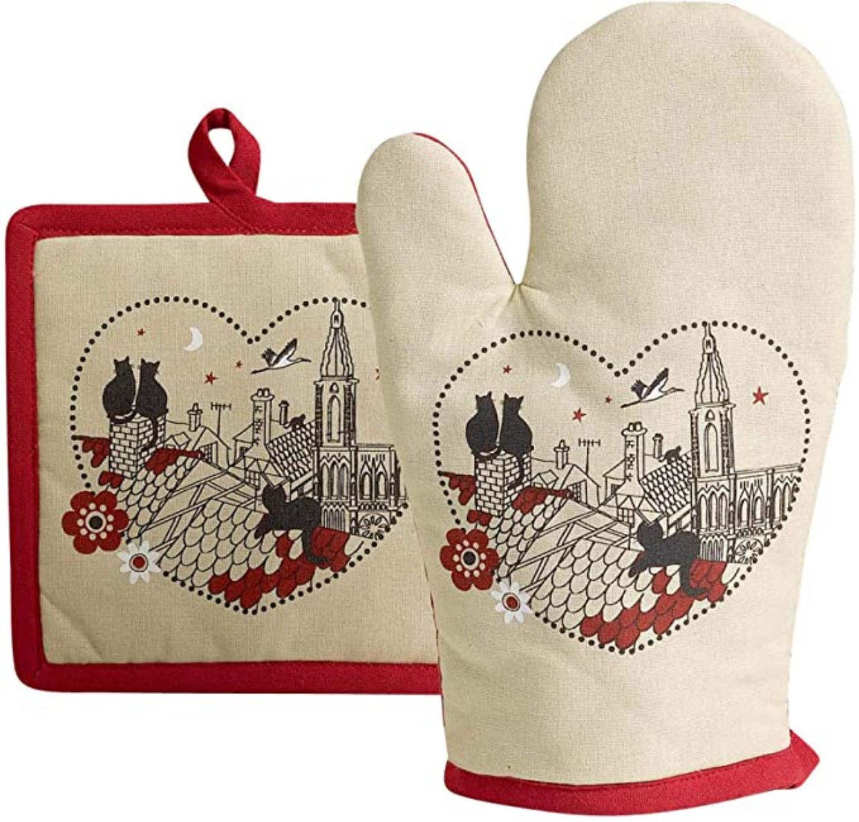 Duo of Black Cats in a Heart Beige & Red Oven Glove Gauntlet & Matching Pot Holder
