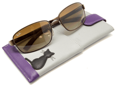Mala Leather Midnight Black Cat Grey Glasses Case