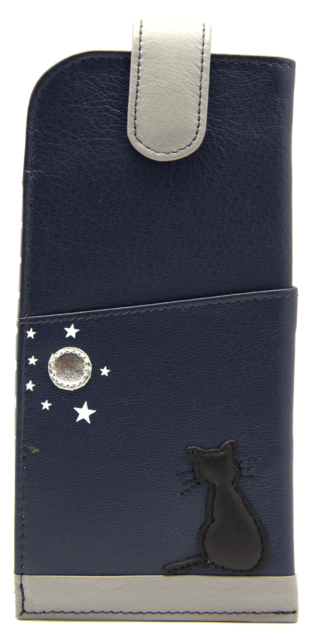 Mala Leather Midnight Black Cat Navy Blue Glasses Case