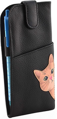 Mala Leather Cleo the Cat Black Glasses Case