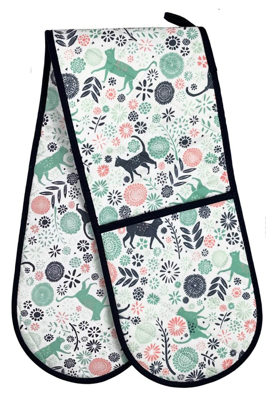Vicky Yorke Kitchen Cats Double Oven Gloves