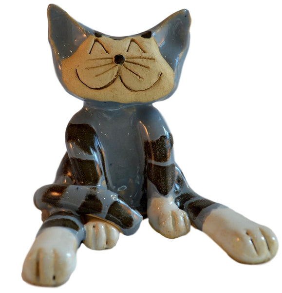 Ceramic Lazy Cat Blue Stripey