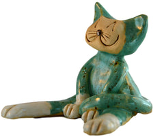 Ceramic Lazy Teal Cat
