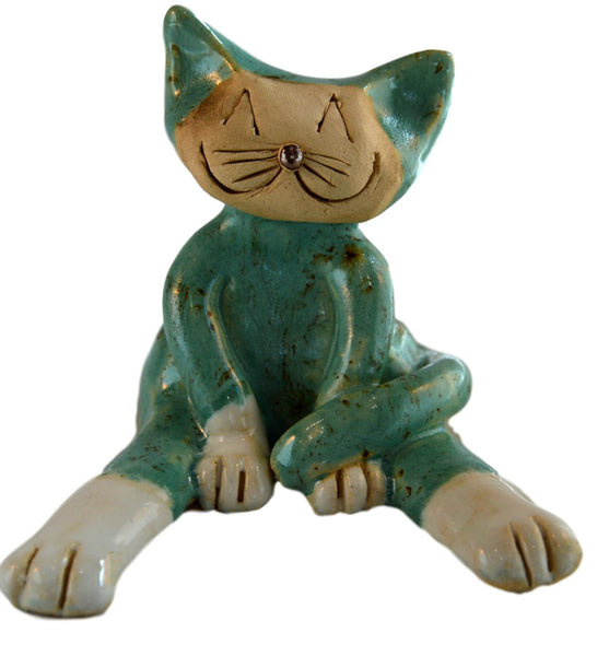 Ceramic Lazy Cat Teal