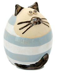 Ceramic Light Blue Stripey Fat Cat