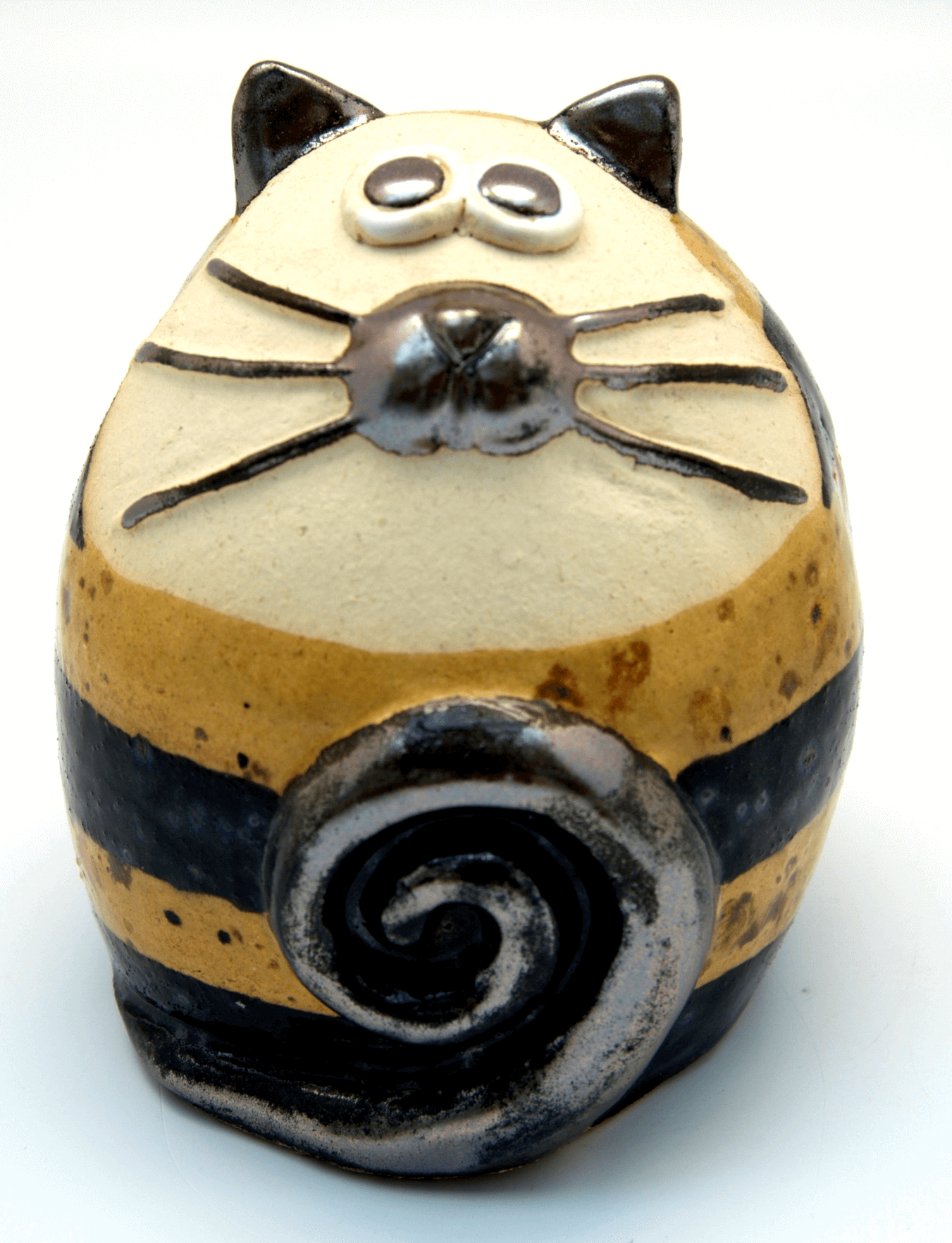Ceramic Brown Spotty Stripey Fat Cat