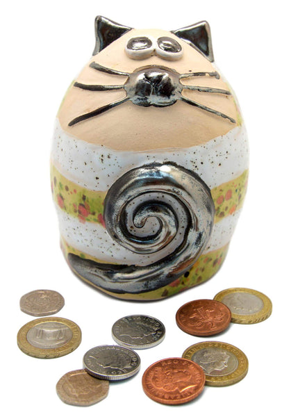 Ceramic Melon Stripey Fat Cat Money Box