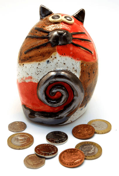 Ceramic Patches Fat Cat Money Box
