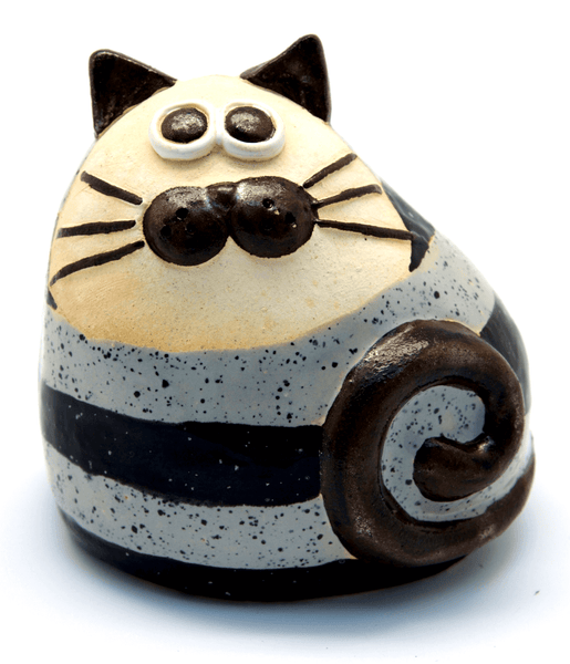 Ceramic Blue Stripey Chubby Cat