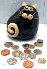 Ceramic Black Chubby Cat Money Box