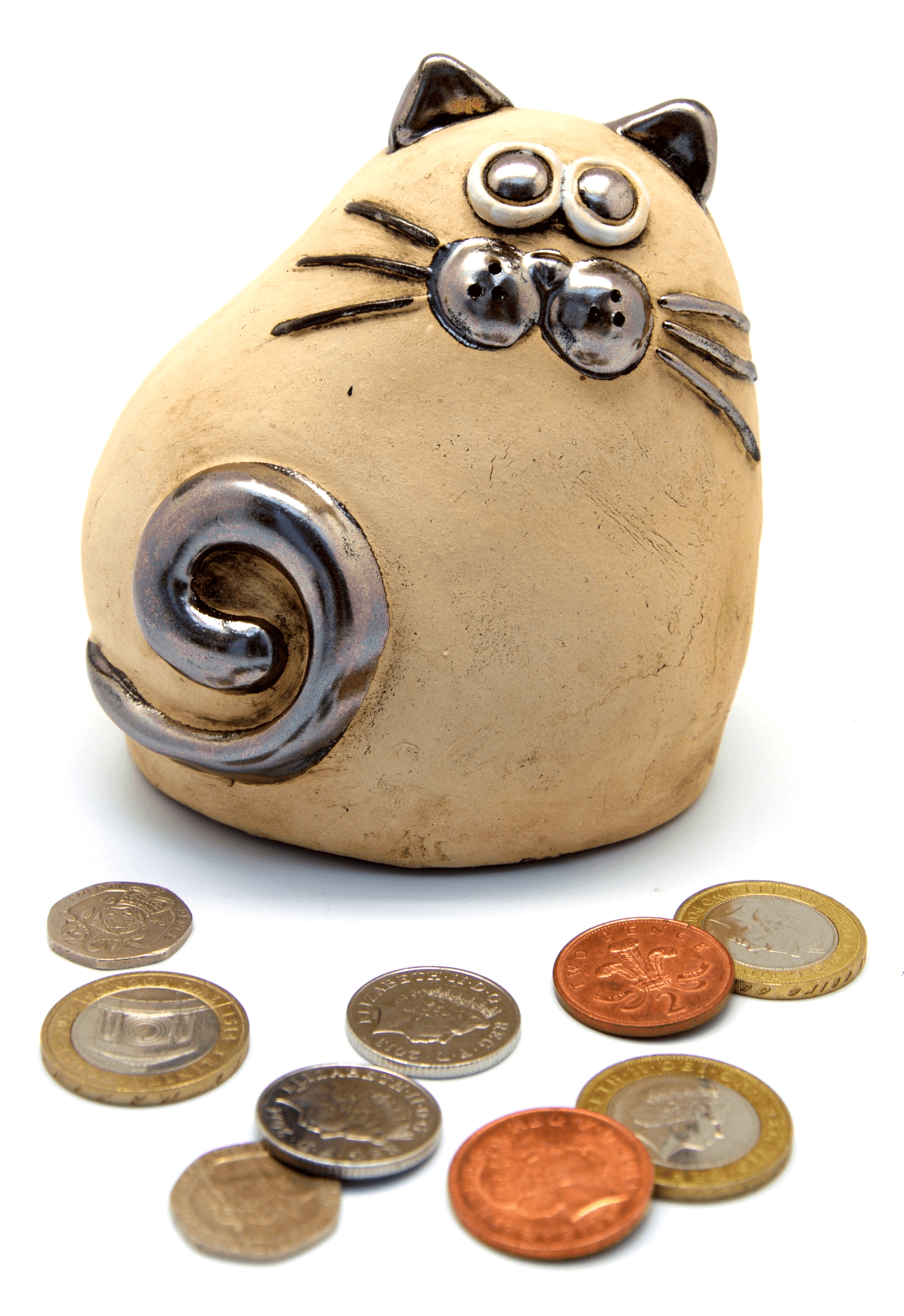 Ceramic Natural Chubby Cat Money Box