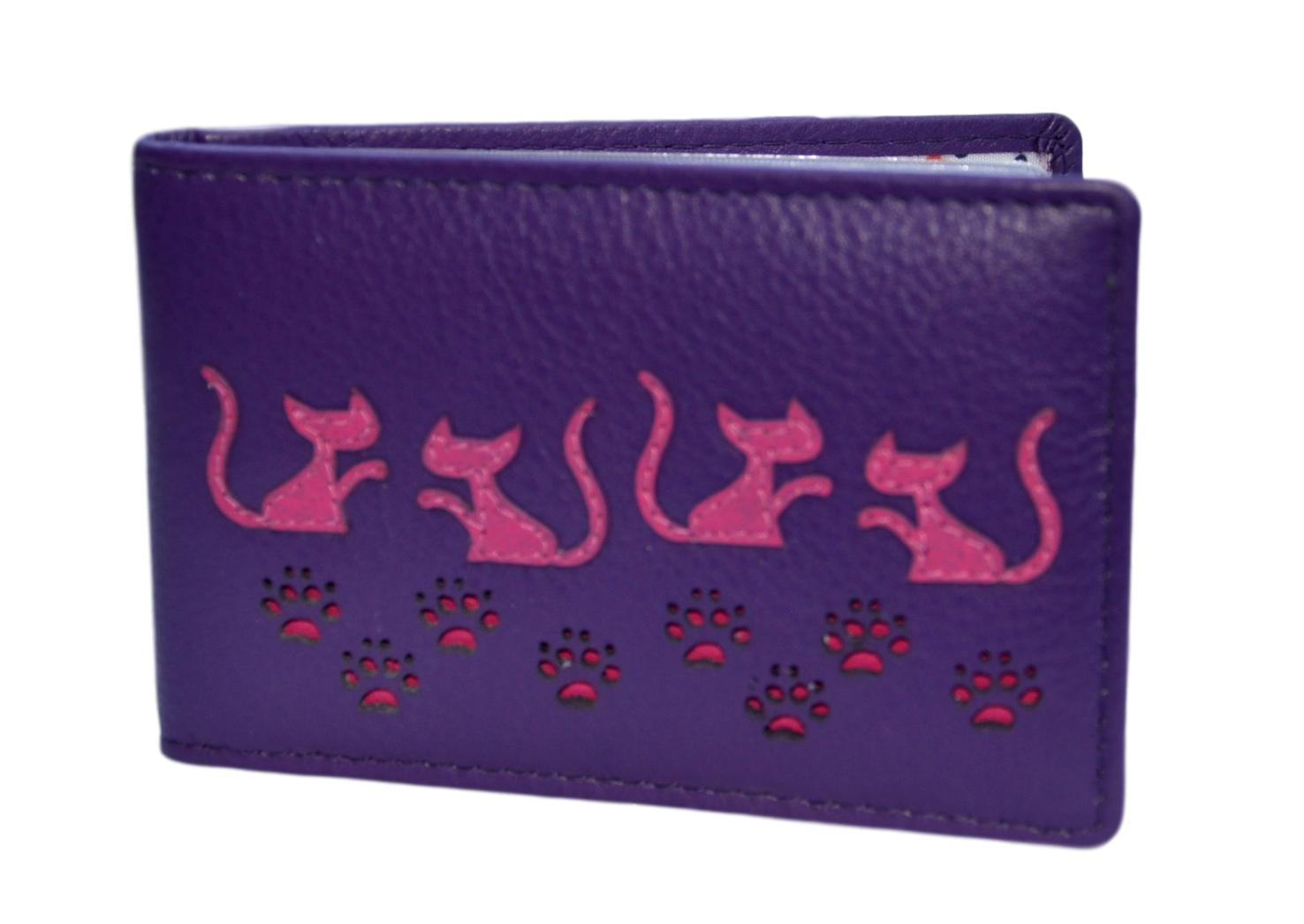 Mala Leather Purple Poppy Cat ID / Card Holder / Purse
