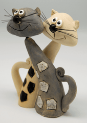 Twisted Cats and Cats with Hearts Ceramic Ornaments