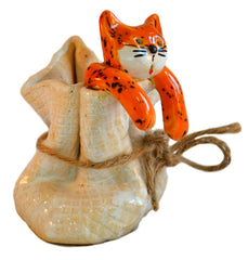 Ceramic Ginger Cat in a Sack