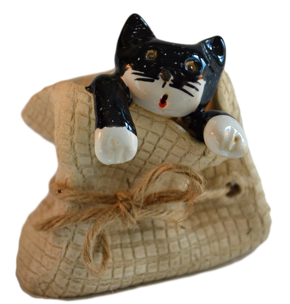 Ceramic Black Cat in a Sack