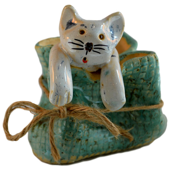 Ceramic White Cat in a Sack