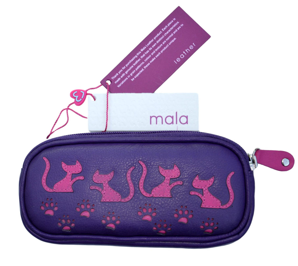 Mala Leather Poppy Cat Purple Glasses Case