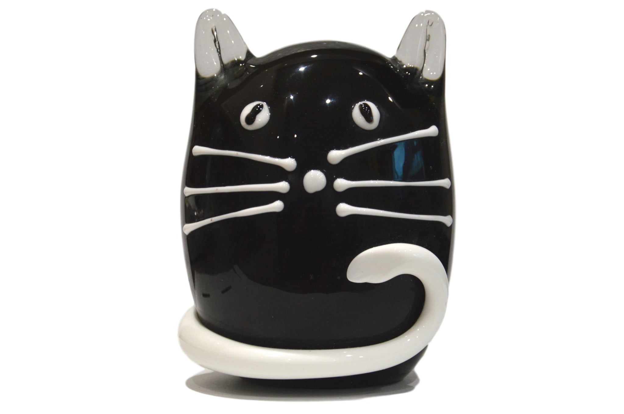 Objets D'Art Black & White Cat Glass Ornament