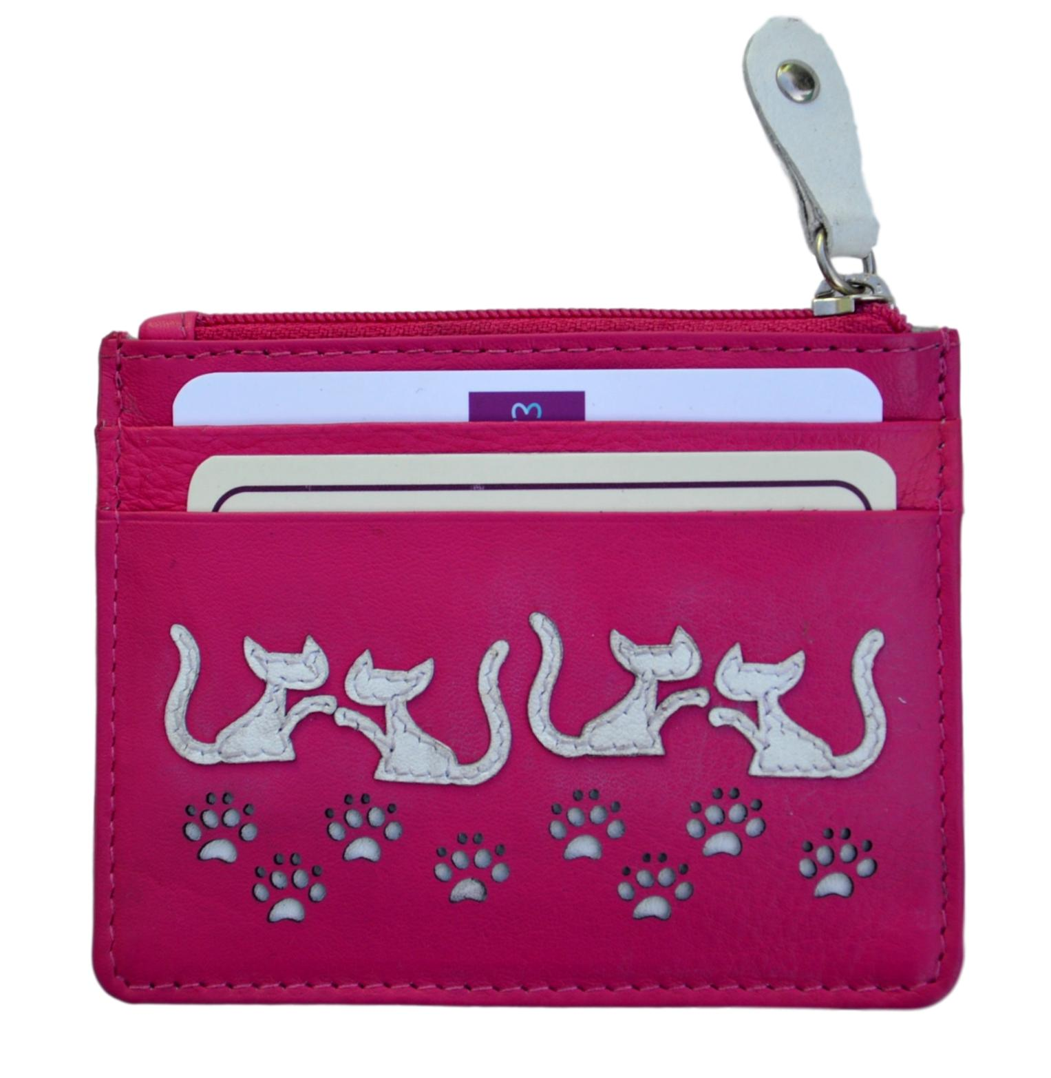 Mala Leather Pink Poppy Cat Coin and Card Holder Purse