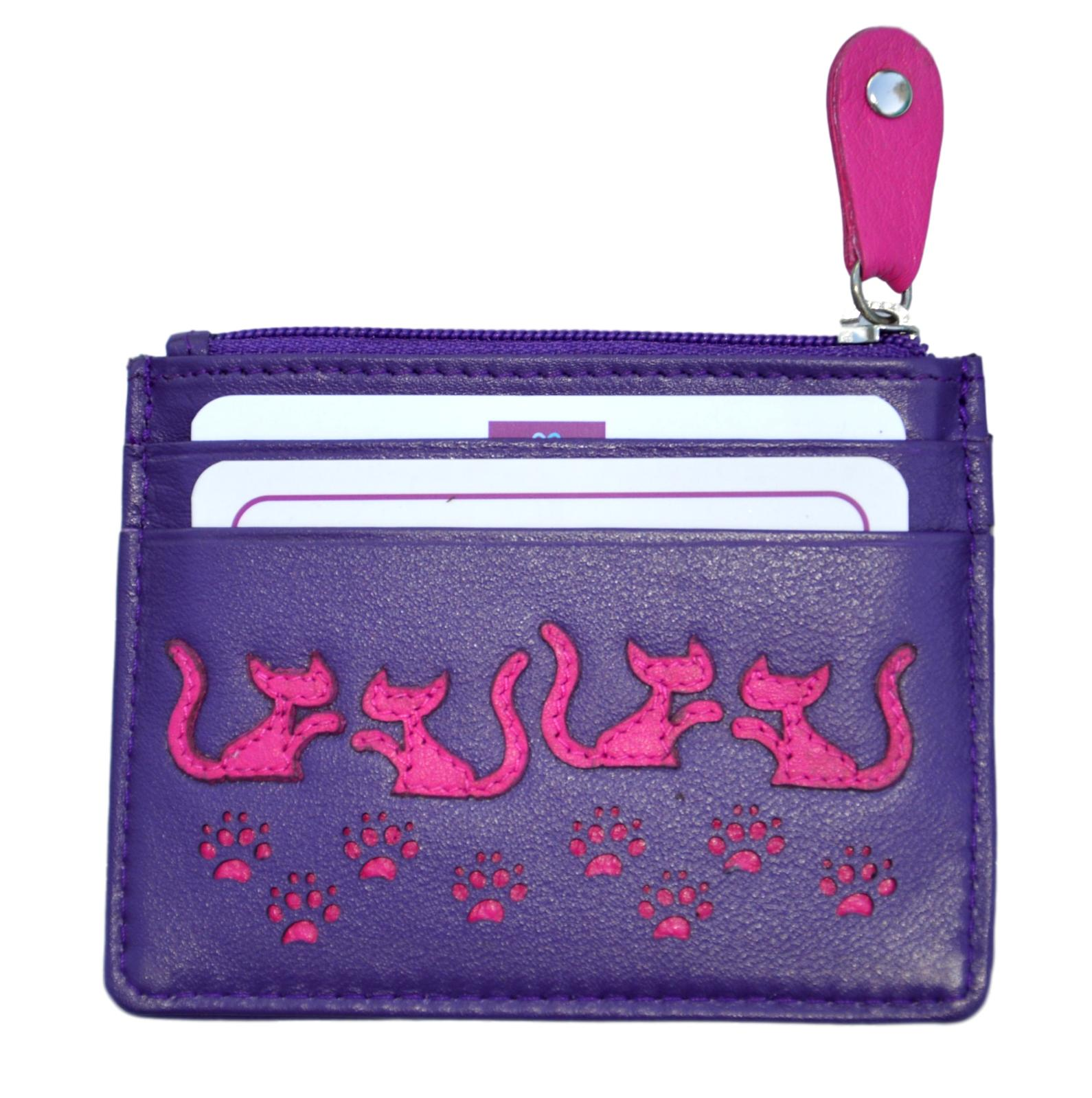 Mala Leather Purple Poppy Cat Coin and Card Holder Purse