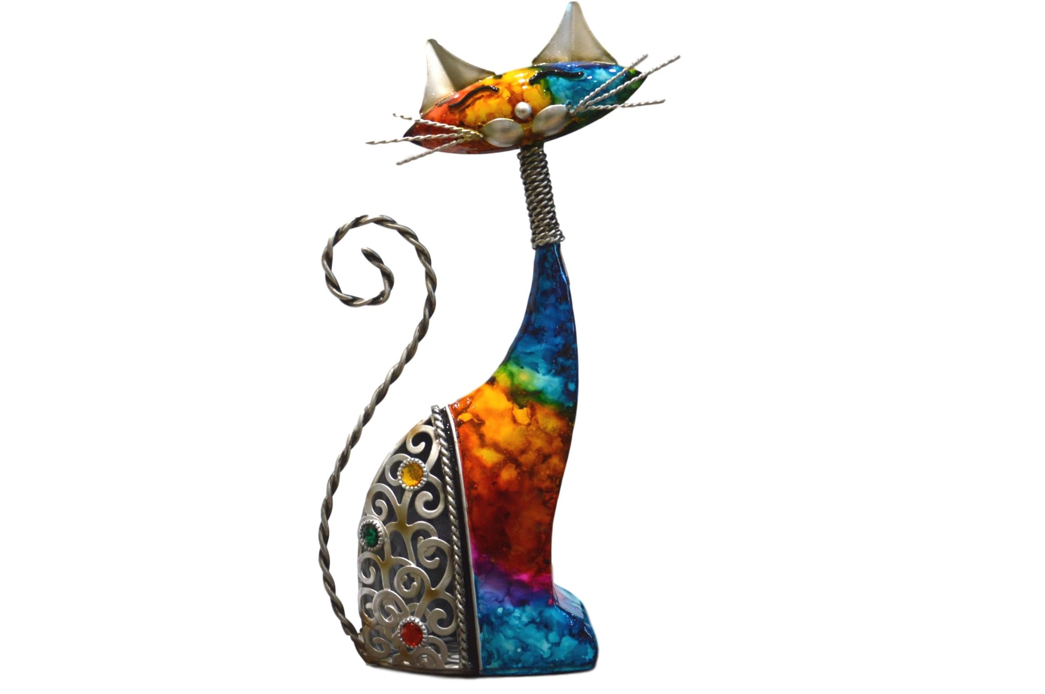 Multicoloured Metal Cat Ornament - Left Facing