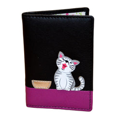 Mala Leather Black Ziggy Cat ID / Card Holder / Purse