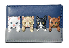 Mala Leather Navy Blue Cats on Wall ID / Card Holder / Purse