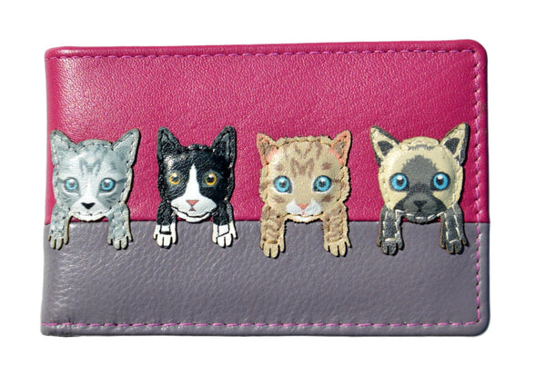 Mala Leather Pink Cats on Wall ID / Card Holder / Purse