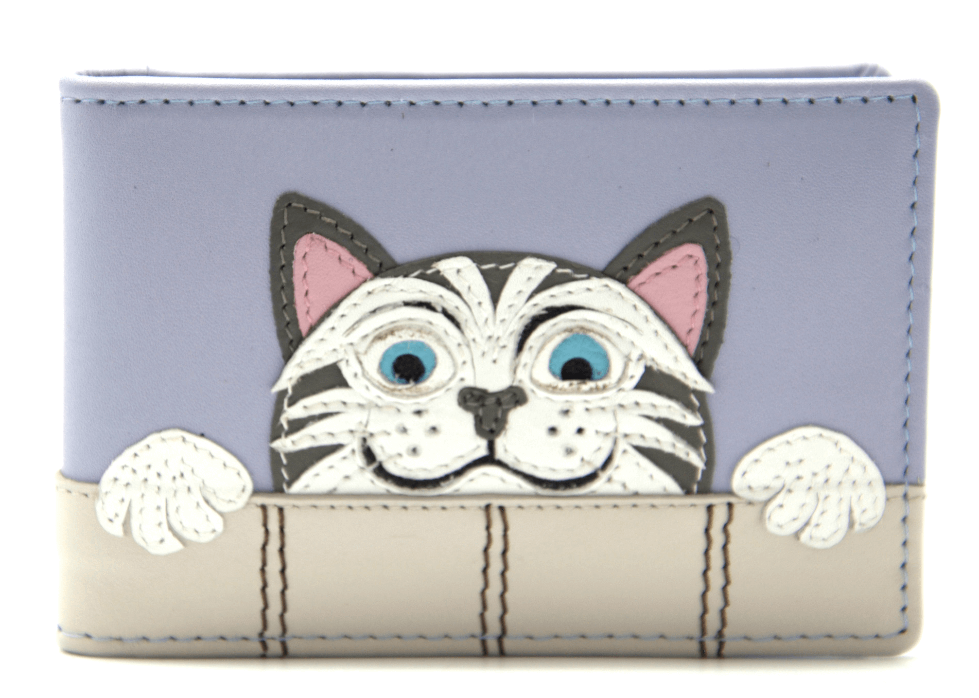 Mala Leather Blue The Neighbours Cat ID / Card Holder / Purse