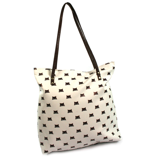 Peeping Black Cat Vinyl Tote / Shopping Bag