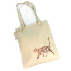 Cream & Rose Gold Glitter Cat Faux Leather Shoulder Bag