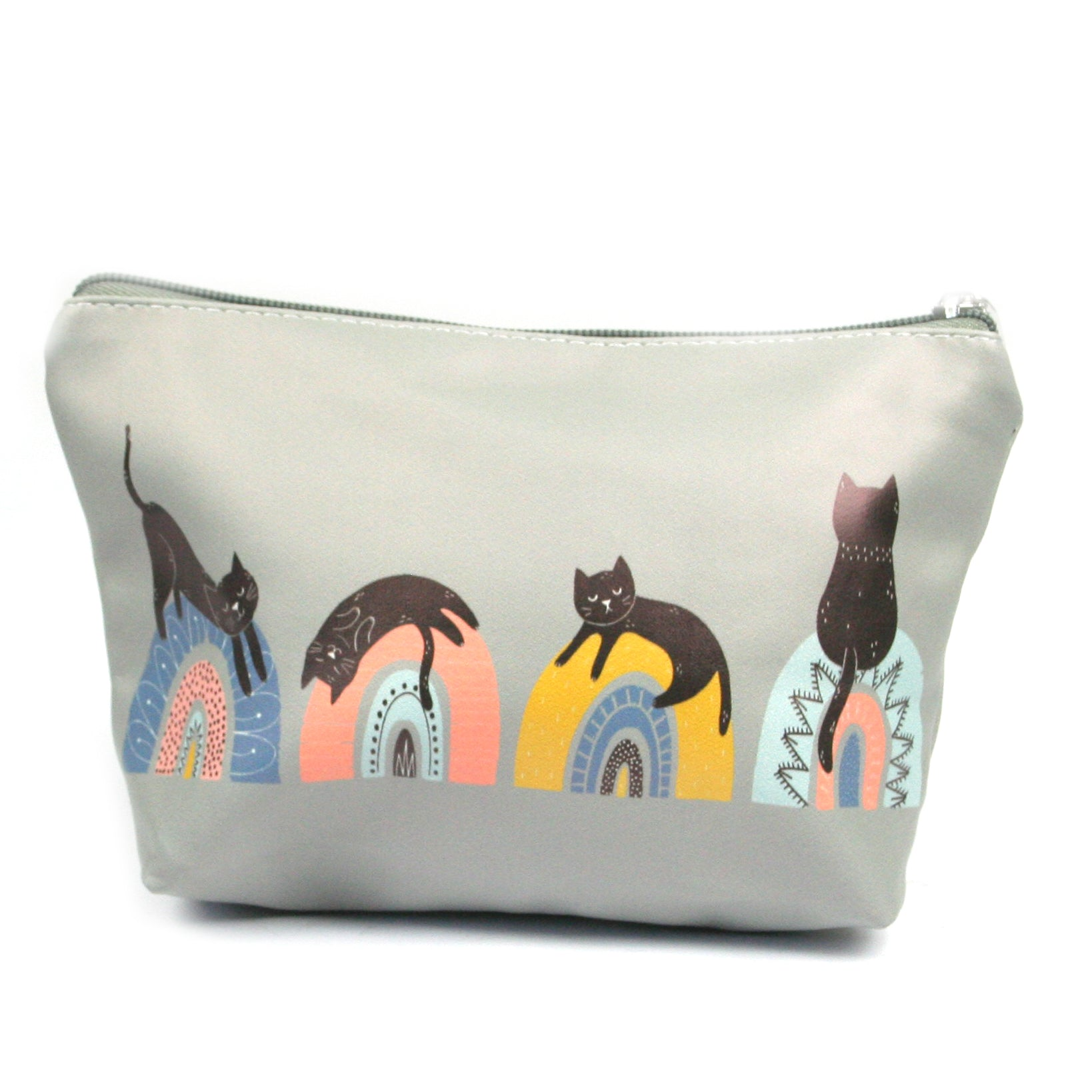 Black Cat on Rainbow Make-Up / Clutch Bag / Pencil Case / Wash Bag